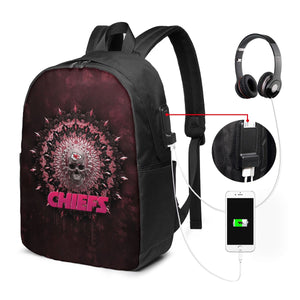 3D Skull American Football Team Chiefs Travel Laptop Backpack USB Backpack 17 IN-Heroinhere