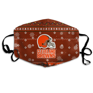 Browns Team Christmas Ugly Anti-infective Polyester Face Mask-Heroinhere