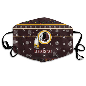 Redskins Team Christmas Ugly Anti-infective Polyester Face Mask-Heroinhere