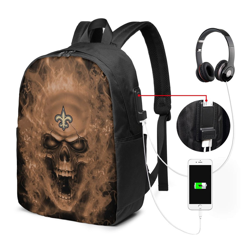 3D Skull Saints Travel Laptop Backpack USB Backpack 17 IN-Heroinhere