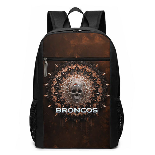 3D Skull American Football Team Broncos Travel Laptop Backpack 17 IN-Heroinhere