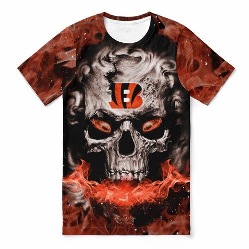 Bengals 3D Skull T-shirts For Women-Heroinhere