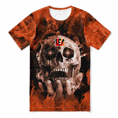 Bengals With Fire Skull T-shirts For Women-Heroinhere