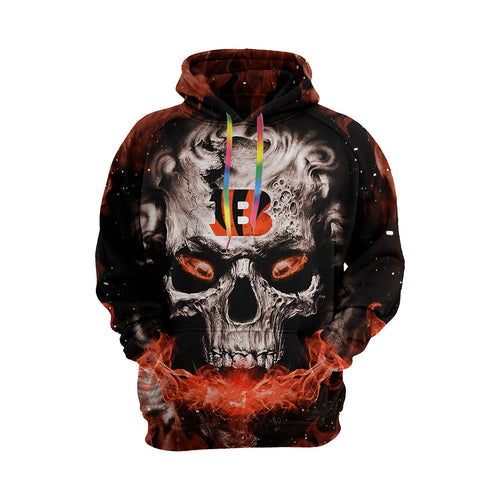 QIANOU66 3D Skull Bengals Hoodies For Men Pullover Sweatshirt-Heroinhere
