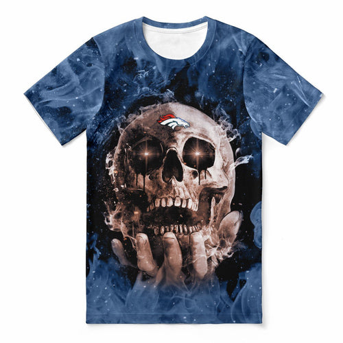 Broncos With Fire Skull T-shirts For Women-Heroinhere