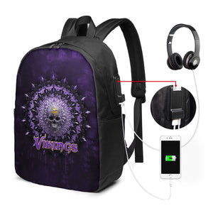 3D Skull American Football Team Vikings Travel Laptop Backpack USB Backpack 17 IN-Heroinhere