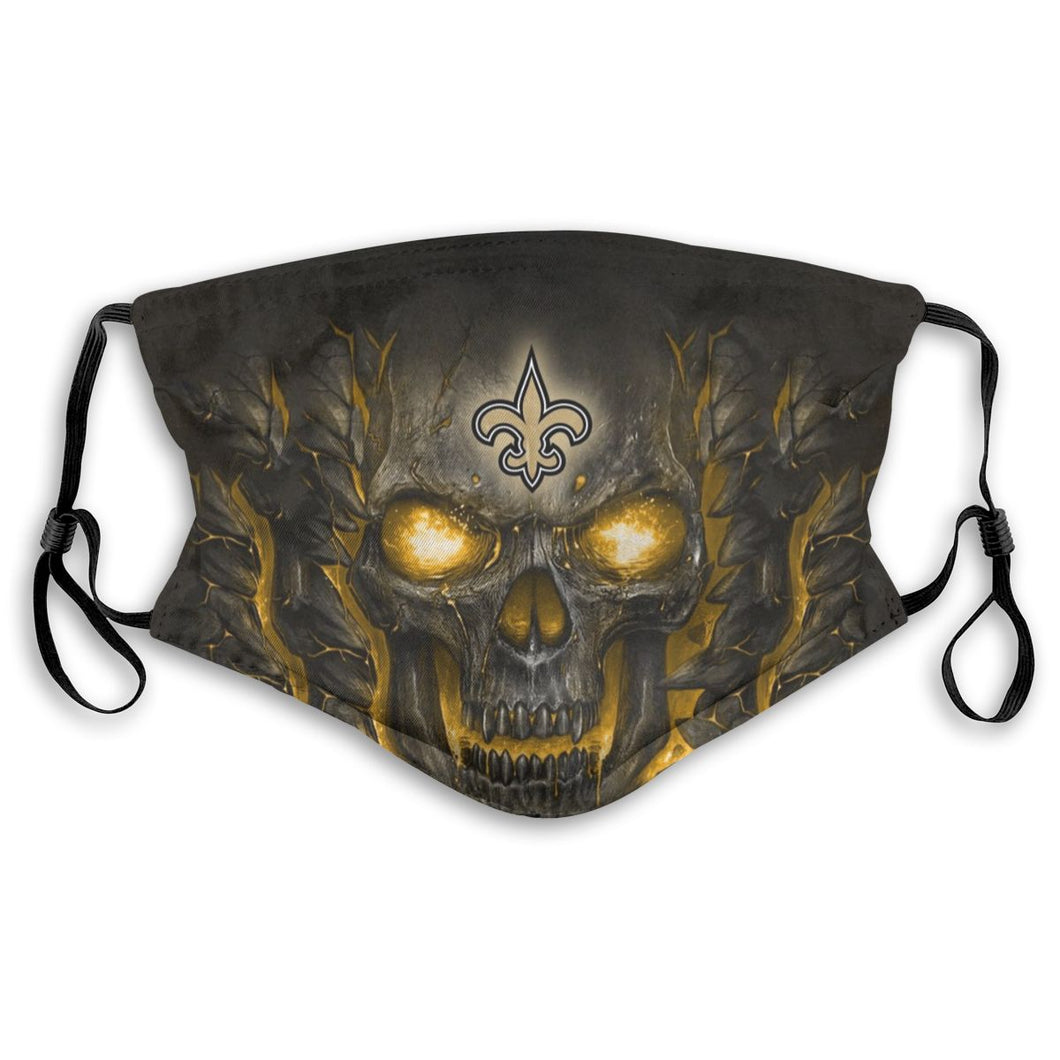 Saints Skull Lava Anti-infective Polyester Face Mask With Filter-Heroinhere