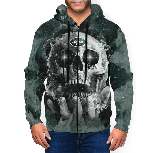 QIANOU66 3D Skull Jets Men's Zip Hooded Sweatshirt-Heroinhere