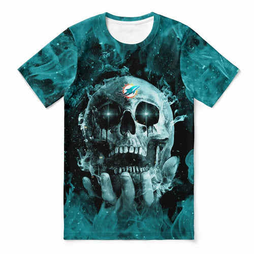 Dolphins With Fire Skull T-shirts For Women-Heroinhere