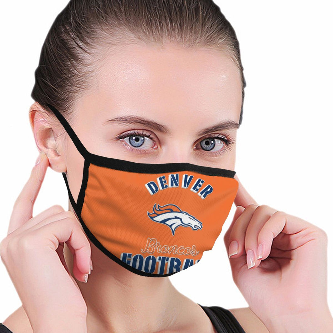 Broncos Football Team Anti-infective Polyester Face Mask-Heroinhere