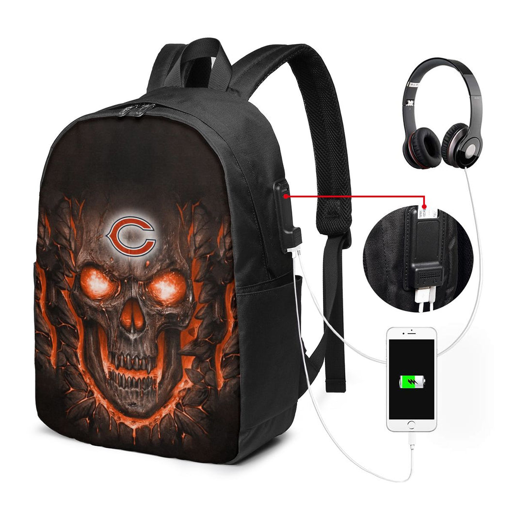 Bears Skull Lava Travel Laptop Backpack USB Backpack 17 IN-Heroinhere