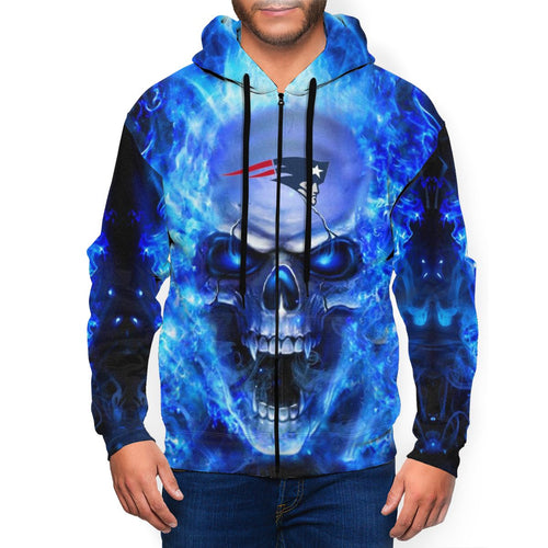 3D Skull Patriots Men's Zip Hooded Sweatshirt-Heroinhere