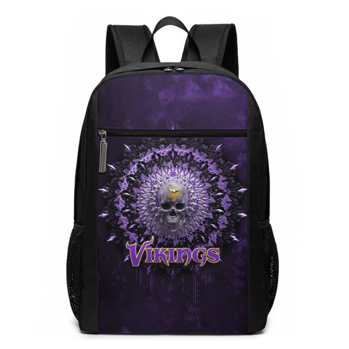 3D Skull American Football Team Vikings Travel Laptop Backpack 17 IN-Heroinhere