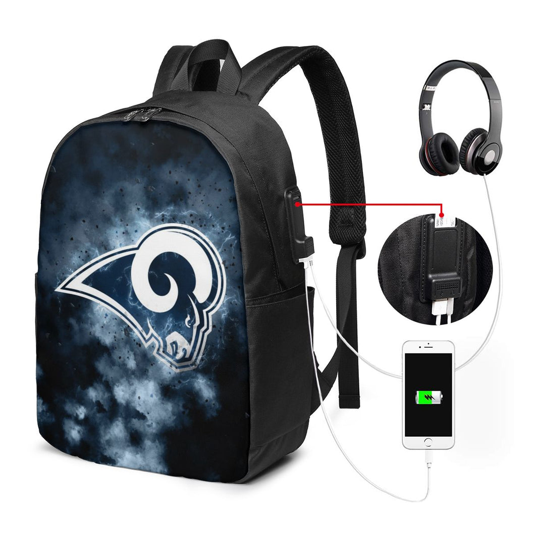 Rams Illustration Art Travel Laptop Backpack USB Backpack 17 IN-Heroinhere