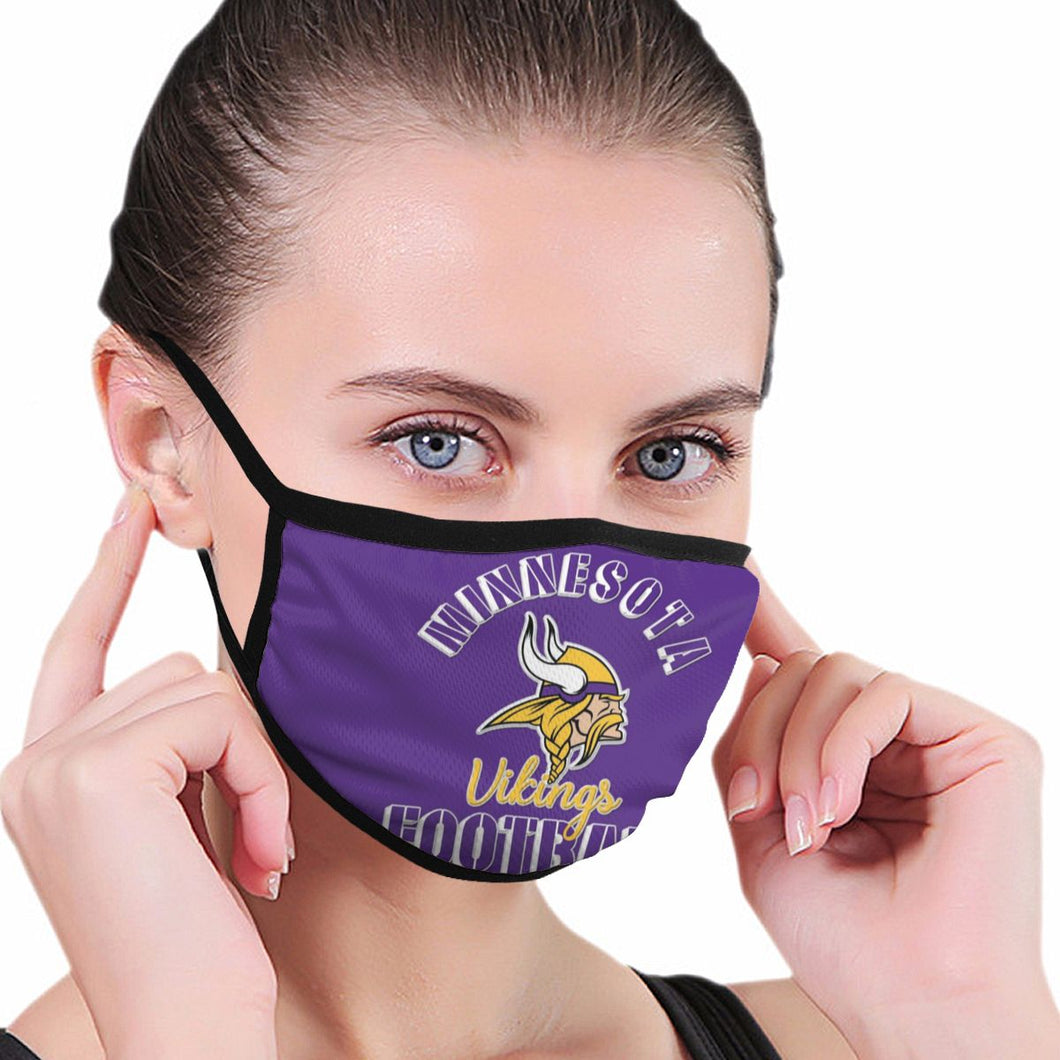 Vikings Football Team Anti-infective Polyester Face Mask-Heroinhere