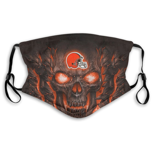 Browns Skull Lava Anti-infective Polyester Face Mask With Filter-Heroinhere