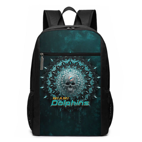 3D Skull American Football Team Dolphins Travel Laptop Backpack 17 IN-Heroinhere