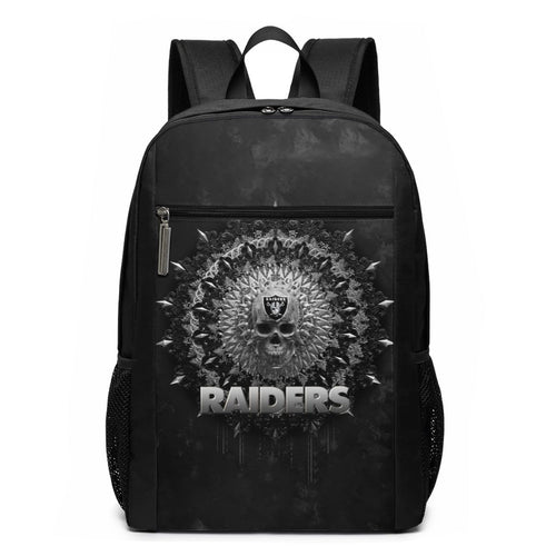 3D Skull American Football Team Raiders Travel Laptop Backpack 17 IN-Heroinhere