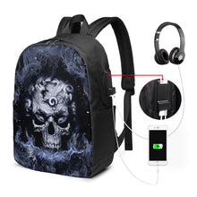 Load image into Gallery viewer, 3D Skull Rams Travel Laptop Backpack USB Backpack 17 IN-Heroinhere