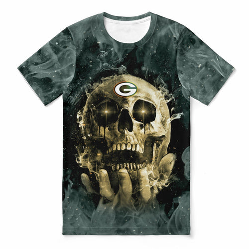 Packers With Fire Skull T-shirts For Women-Heroinhere