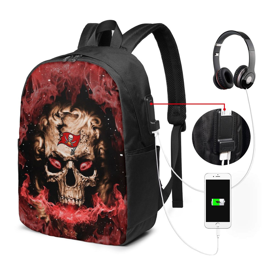 3D Skull Buccaneers Travel Laptop Backpack USB Backpack 17 IN-Heroinhere