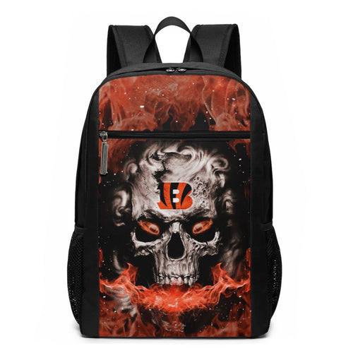3D Skull Bengals Travel Laptop Backpack 17 IN-Heroinhere