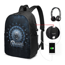 Load image into Gallery viewer, 3D Skull American Football Team Rams Travel Laptop Backpack USB Backpack 17 IN-Heroinhere