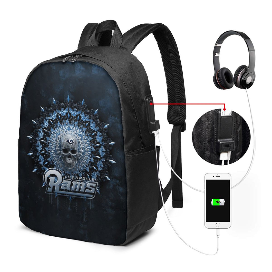 3D Skull American Football Team Rams Travel Laptop Backpack USB Backpack 17 IN-Heroinhere