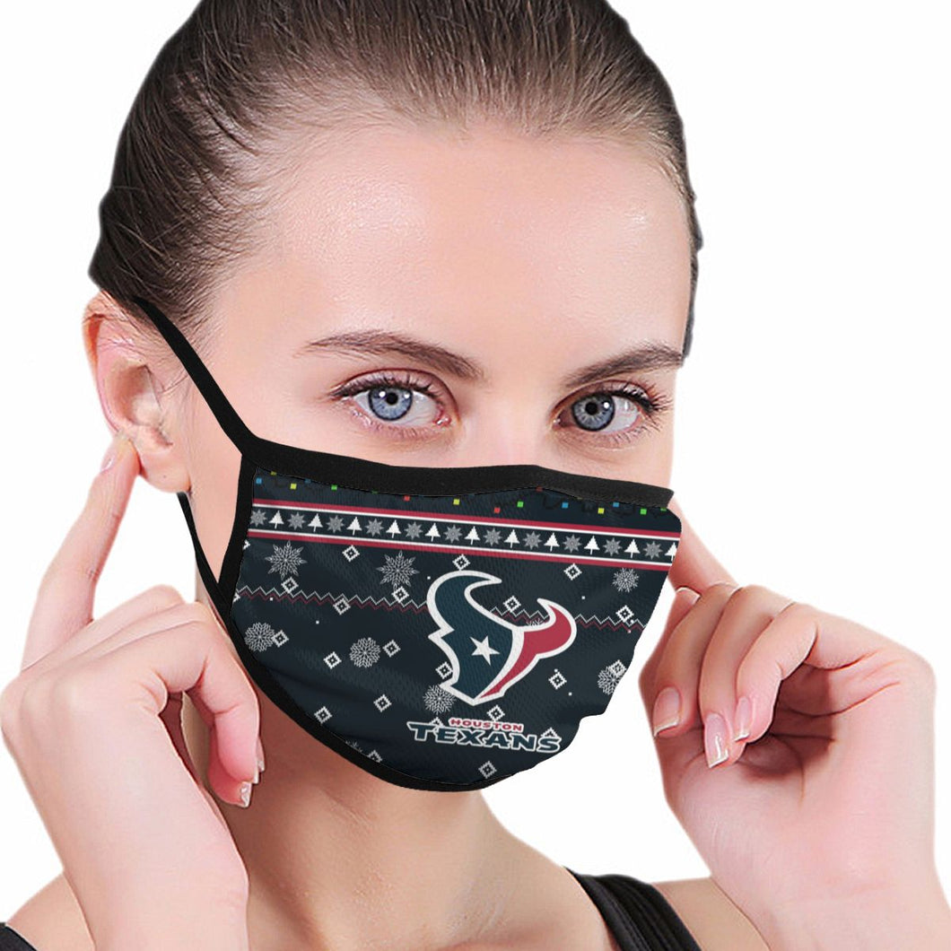 Texans Team Christmas Ugly Anti-infective Polyester Face Mask-Heroinhere