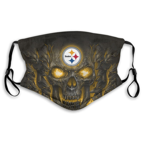 Steelers Skull Lava Anti-infective Polyester Face Mask With Filter-Heroinhere
