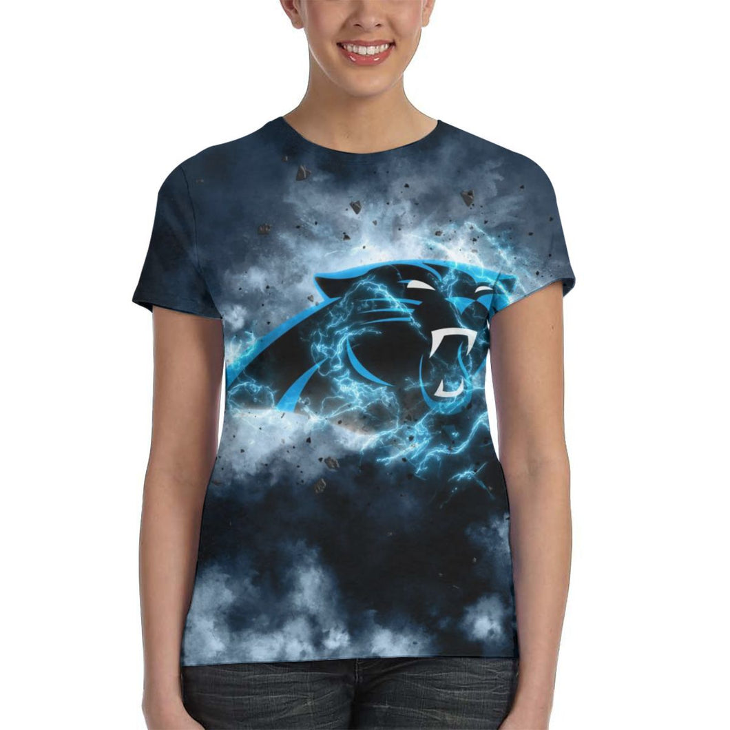 Panthers Illustration Art T Shirts For Women-Heroinhere