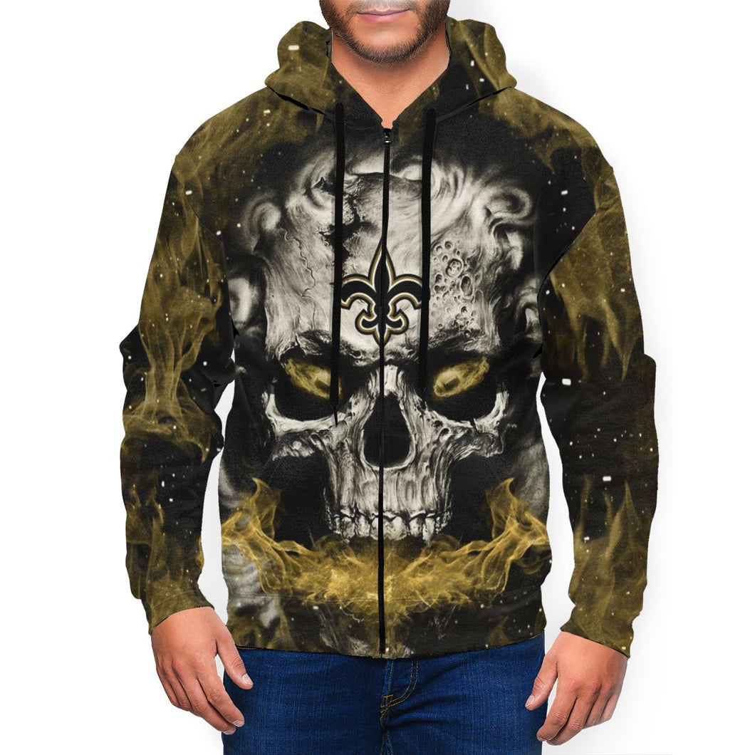 QIANOU66 3D Skull Saints Men's Zip Hooded Sweatshirt-Heroinhere