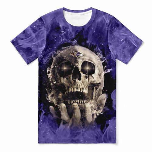 Ravens With Fire Skull T-shirts For Women-Heroinhere