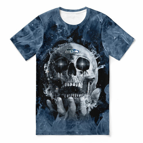 Seahawks With Fire Skull T-shirts For Women-Heroinhere