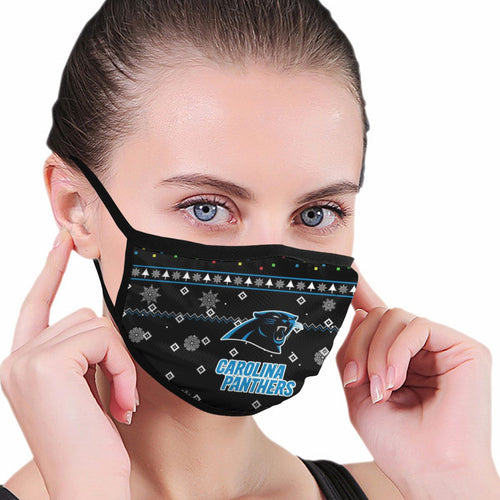 Panthers Team Christmas Ugly Anti-infective Polyester Face Mask-Heroinhere