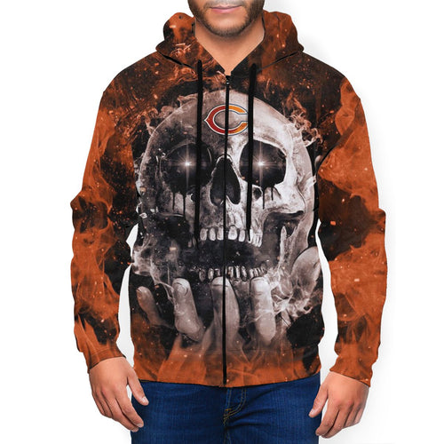 QIANOU66 3D Skull Bears Men's Zip Hooded Sweatshirt-Heroinhere