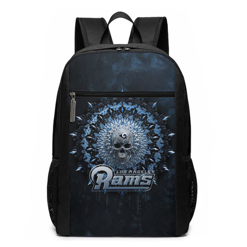 3D Skull American Football Team Rams Travel Laptop Backpack 17 IN-Heroinhere