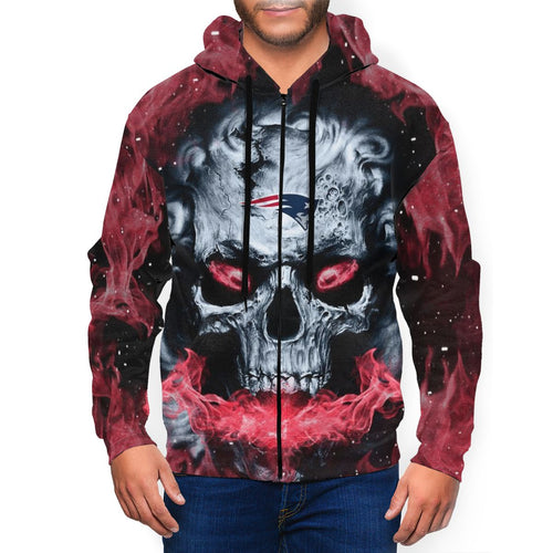 QIANOU66 3D Skull Patriots Men's Zip Hooded Sweatshirt-Heroinhere