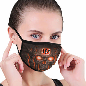 QIANOU66 Skull Lava Bengals Anti-infective Polyester Face Mask-Heroinhere