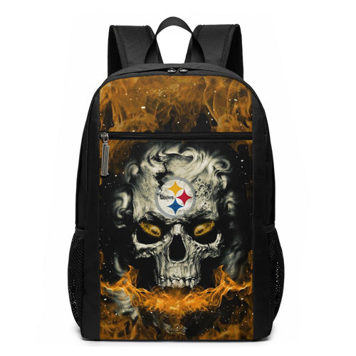 3D Skull Steelers Travel Laptop Backpack 17 IN-Heroinhere