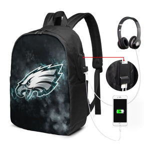 Eagles Illustration Art Travel Laptop Backpack USB Backpack 17 IN-Heroinhere