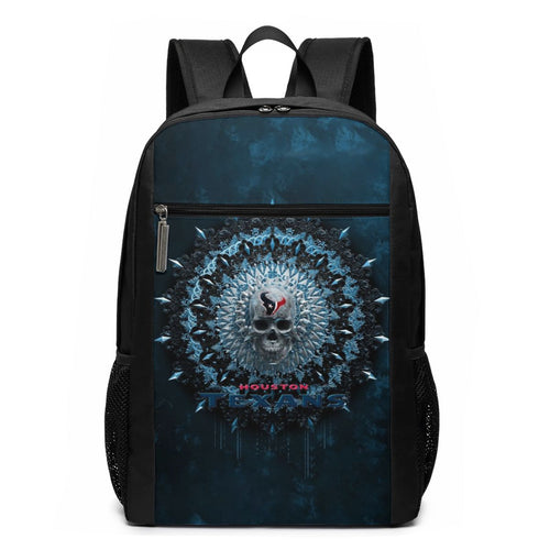 3D Skull American Football Team Texans Travel Laptop Backpack 17 IN-Heroinhere