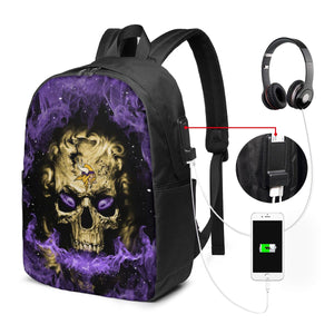 3D Skull Vikings Travel Laptop Backpack USB Backpack 17 IN-Heroinhere