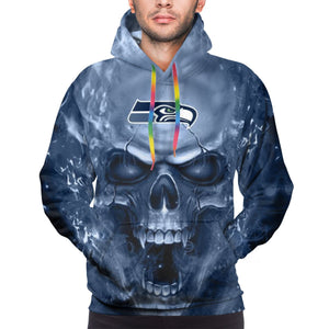 3D Skull Seahawks Hoodies For Men Pullover Sweatshirt-Heroinhere