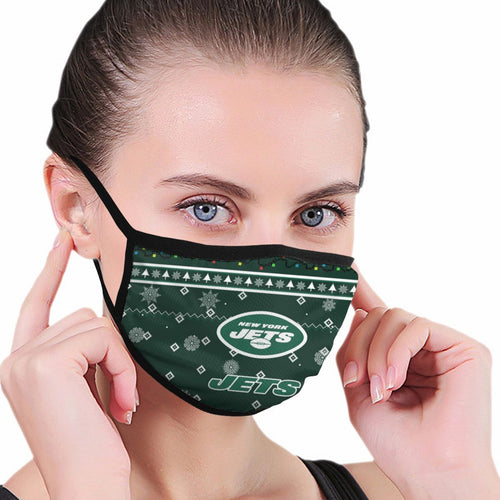 Jets Team Christmas Ugly Anti-infective Polyester Face Mask-Heroinhere