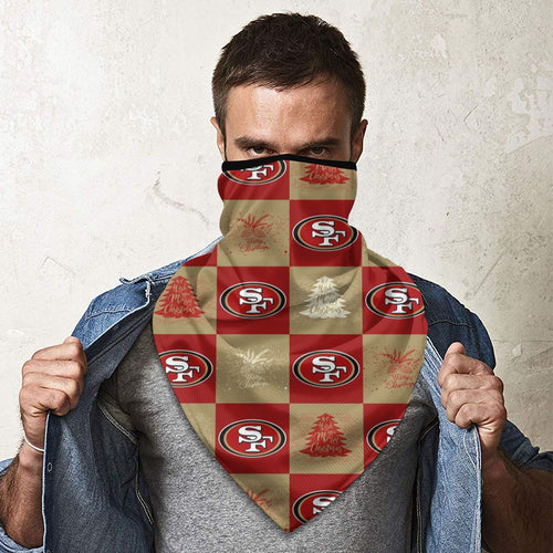 49ers Team Ugly Christmas Obacle Seamless Bandana Rave Face Mask-Heroinhere