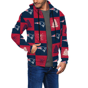 Patriots Team Ugly Christmas Men's Zip Hooded Sweatshirt-Heroinhere