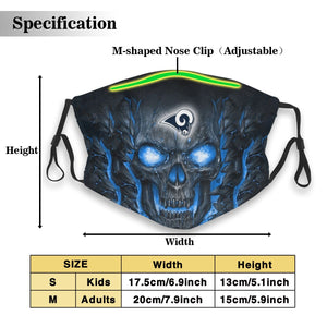 Rams Skull Lava Anti-infective Polyester Face Mask With Filter-Heroinhere