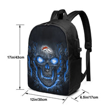 Load image into Gallery viewer, Broncos Skull Lava Travel Laptop Backpack USB Backpack 17 IN-Heroinhere
