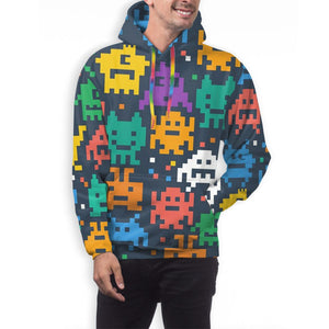 Pixelated Monster Hoodies For Men Pullover Sweatshirt-Heroinhere